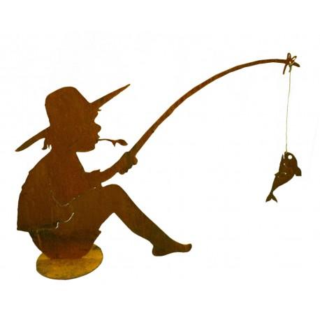 Fischender angler manni 90 cm lang auf platte vom for Figuren aus rost