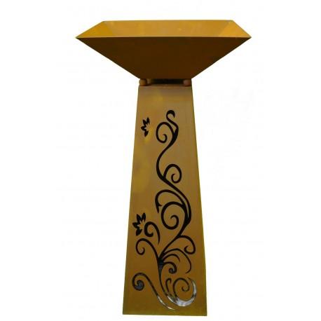 Rust column trapezoidal 116,5 cm high Ornament incl. Shell
