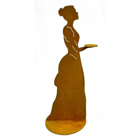 """""""Mademoiselle"""" mit Kleid auf Platte, runde Platte auf Hand"""