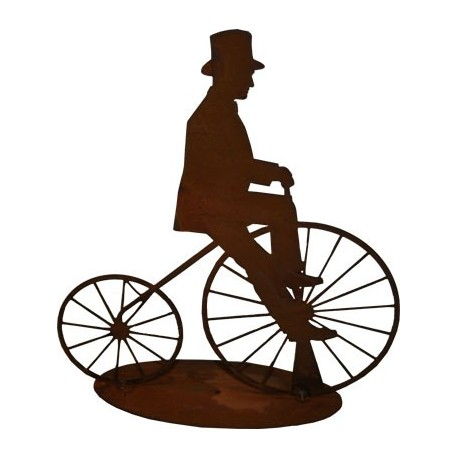 Edelrost Fahrradfahrer -Nostalgie- 20 cm Hochrad aus Metal als Deko