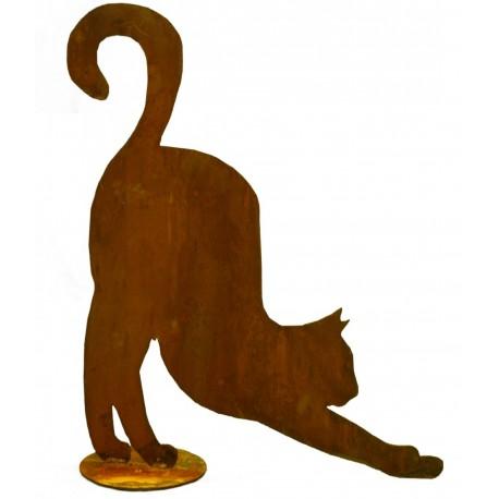 Rost Katze streckt sich - Edelrost Katze mit Bodenplatte zum Stellen