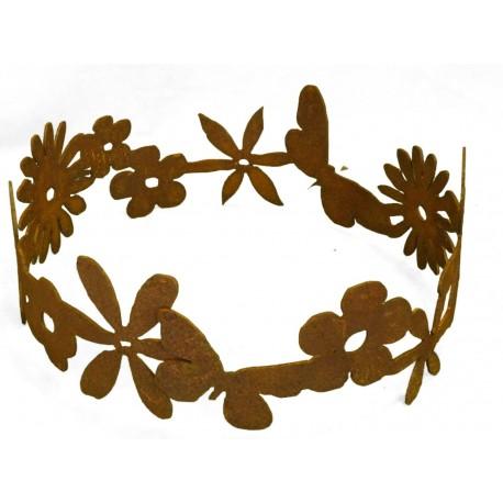 Edelrost Blumenring Ø 30 cm - Dekoring Edelrost mit Blumen und Schmetterling