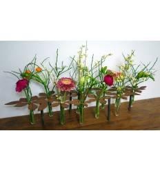 """Tischdeko Ständer """"Blumen"""" 64 cm lang inkl. 10 Reagenzgläser"""