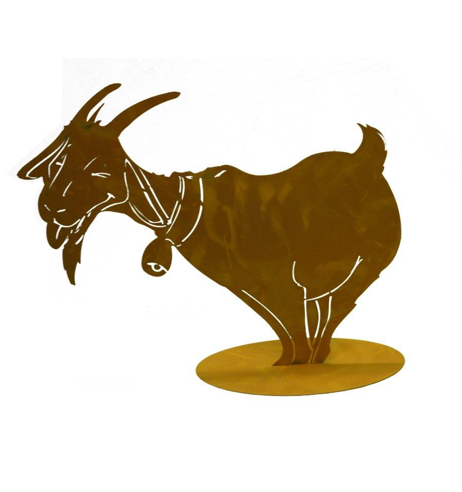 Lustige rost ziege mit glocke klein 40 cm hoch metallmichl for Tiere aus metall gartendeko