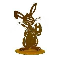 Osterhase lustig bemalt Ei, Höhe 34 cm mit Standplatte