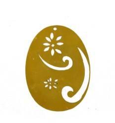 Rost Ei mit Ornament 8 cm - Osterschmuck