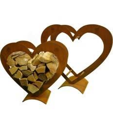 Herz Holzregal 2 tlg. mittlere Ausführung- Set 2 Metall Herzen für Holz