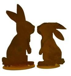 küssende Hasen 2er Set - Edelrost Hasenpaar