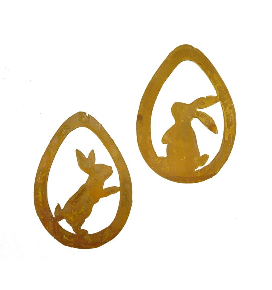 edelrost osterei mit h schen zum h ngen vom metallmichl edelrost gartendeko. Black Bedroom Furniture Sets. Home Design Ideas