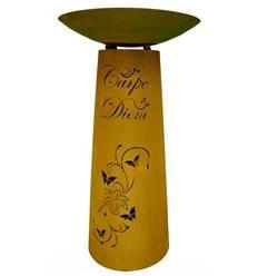 Rostsäule mit Carpe Diem Spruch 90 cm kegelförmig inkl. Pflanzschale