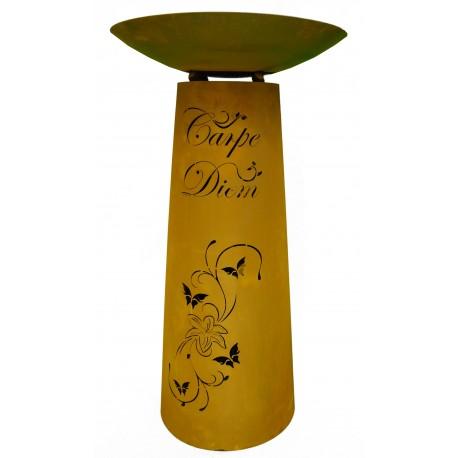 """Säule Kegel """"Carpe Diem"""" 90 cm, Rost inkl. Schale"""