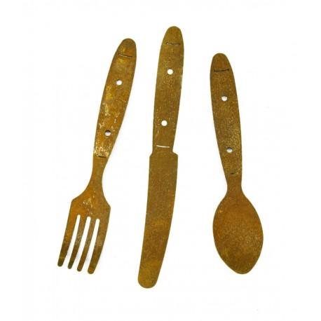 Edelrost Besteck 3 tlg. rostige Gabel, Messer und Löffel als Deko