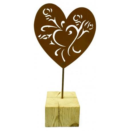 Edelrost Herz mit Holzbalken