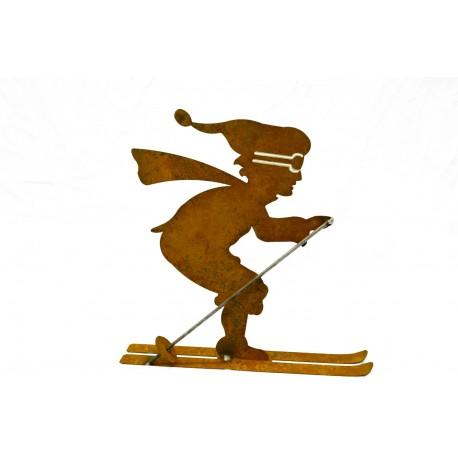 Edelrost Skifahrer