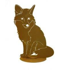Fuchs sitzend auf Platte 40 cm hoch