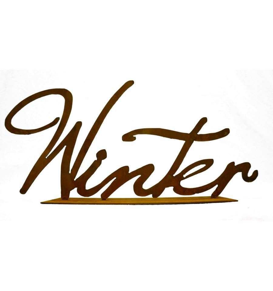edelrost winter schriftzug auf platte vom metallmichl. Black Bedroom Furniture Sets. Home Design Ideas