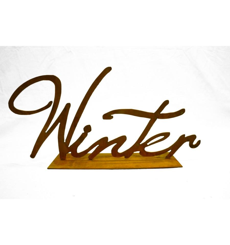 edelrost winter schriftzug auf platte vom metallmichl edelrostshop. Black Bedroom Furniture Sets. Home Design Ideas