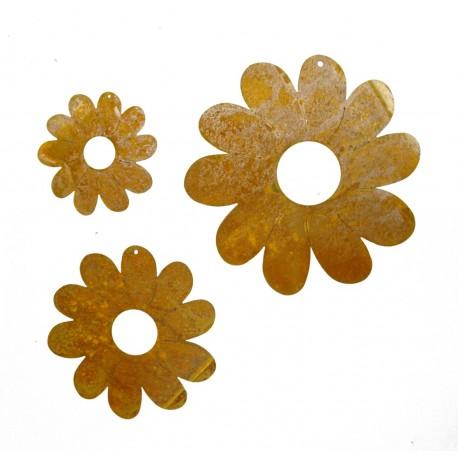 3 tlg. Rost Blumenkette Edelrost Blumen zum Aufhängen
