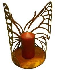 Schmetterling Windlicht groß mit Ausschnitten, halbrund gebogen mit Platte 24 cm hoch Ø 18 cm