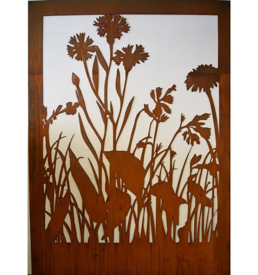Edelrost wiesenmotiv c abtrennung aus 3mm stahl ohne for Blumen aus rostigem metall