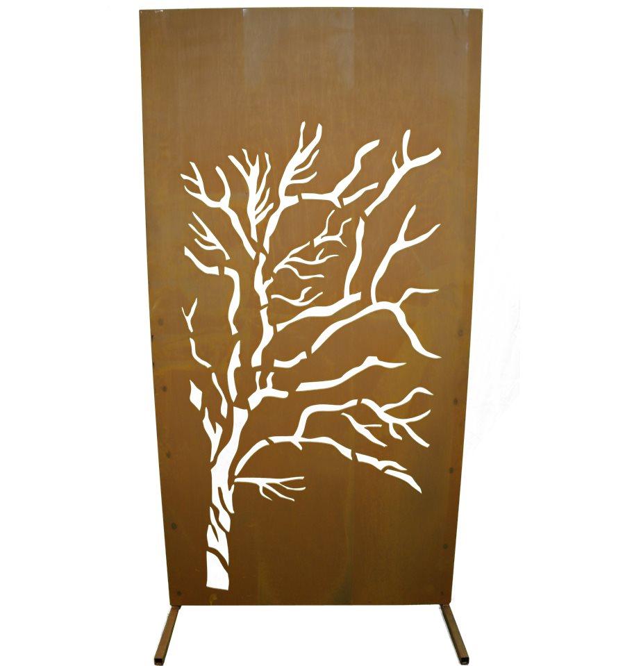 rostige sichtschutzwand mit motiv weide sichtschutzw nde und paraventsmetallkunst xxl. Black Bedroom Furniture Sets. Home Design Ideas