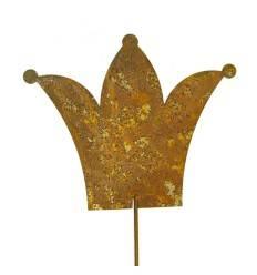 Krone 15 cm auf Stab - Gartenstecker mit Kronenmotiv