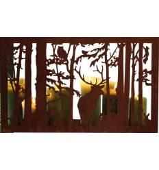 """Kerzentablett mit Waldszene """"Wilder Wald"""" rechteckig 50 x 35 cm - Fensterbank Deko"""