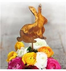 Edelrost Minihase auf Stab Höhe 11 cm - Dekoration für Ostern