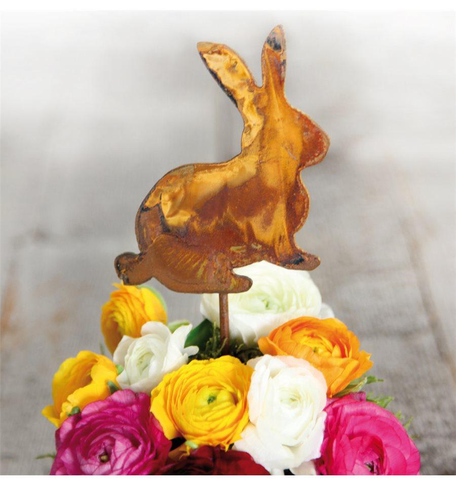 Edelrost minihase auf stab h he 11 cm dekoration f r ostern - Dekoration fur ostern ...