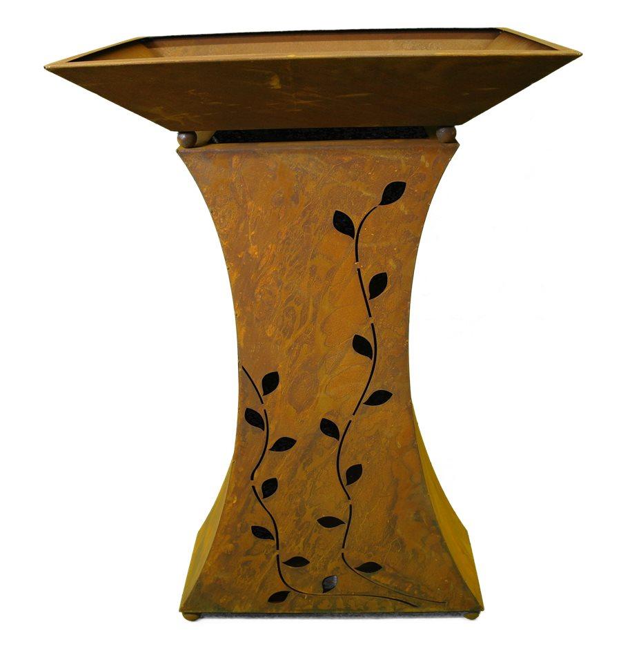 rost s ule im set mit schale und beleuchtung rostige gartendeko. Black Bedroom Furniture Sets. Home Design Ideas