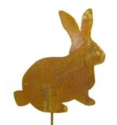 Edelrost Minihase auf Stab Höhe 20 cm - Dekoration für Ostern