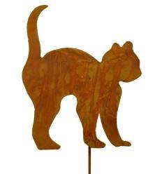 Edelrost Katzenkind Buckel mit Stecker