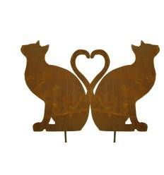 Gartenstecker Katze sitzend - bilden ein Herz 1 Stk (kein Set - damit das Herz entsteht müssen Sie den Artikel 2 x bestellen)