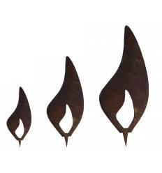 Edelrost Flamme 3er Set - Rost Flammen je 1 x 10 cm, 1 x 15 cm, 1 x 20 cm