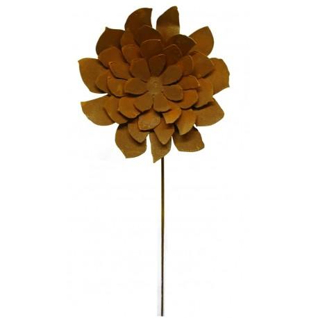 Dahlie Gartenstecker Ø 25 cm mit Stab 100 cm Edelrost Blume