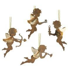 Schutzengel 4er Set Himmelsboten aus Edelrost-Holz, Länge je 6,5 cm, Engel Putte Engelsputte