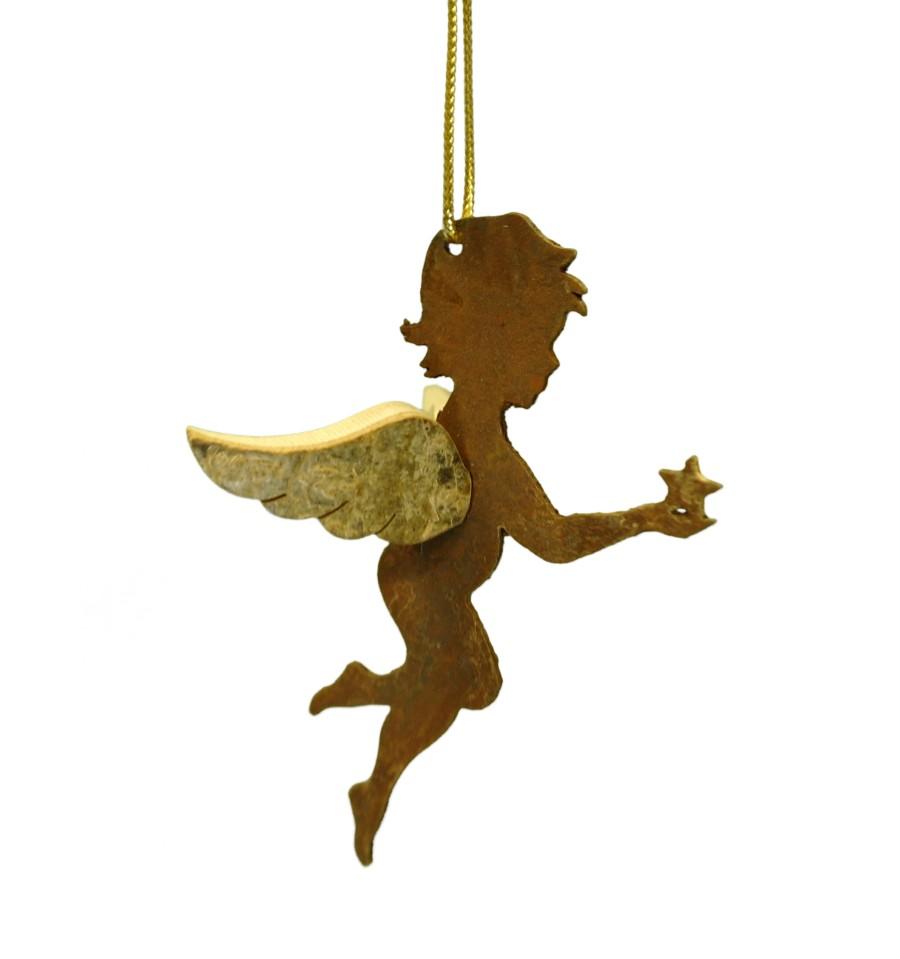 Edelrost engel himmelsbote afriel mit stern schutzengel for Engel edelrost