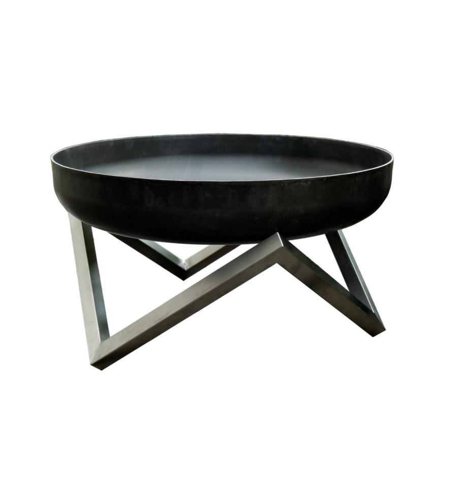 design feuerschale gr e l edelstahl basis mit feuerschale aus massivem rohstahl 3 2 mm rostend. Black Bedroom Furniture Sets. Home Design Ideas