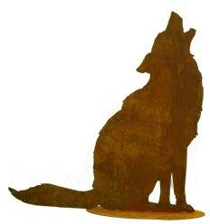 heulender Wolf - Gartenfigur Höhe 72 cm