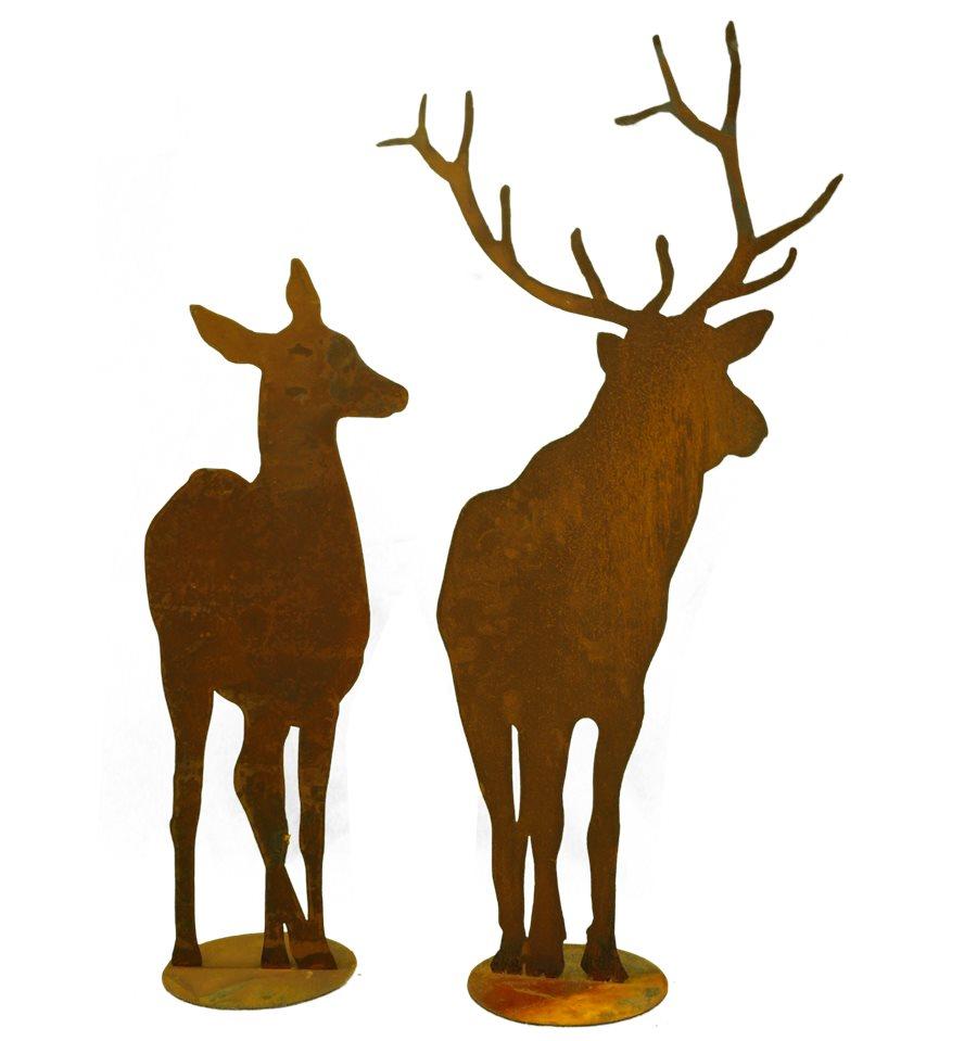 Edelrost Hirsch Reh Paar Gartendeko Metall Rost Weihnachten