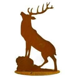 Hirsch röhrend auf Platte H 65cm, B 40cm