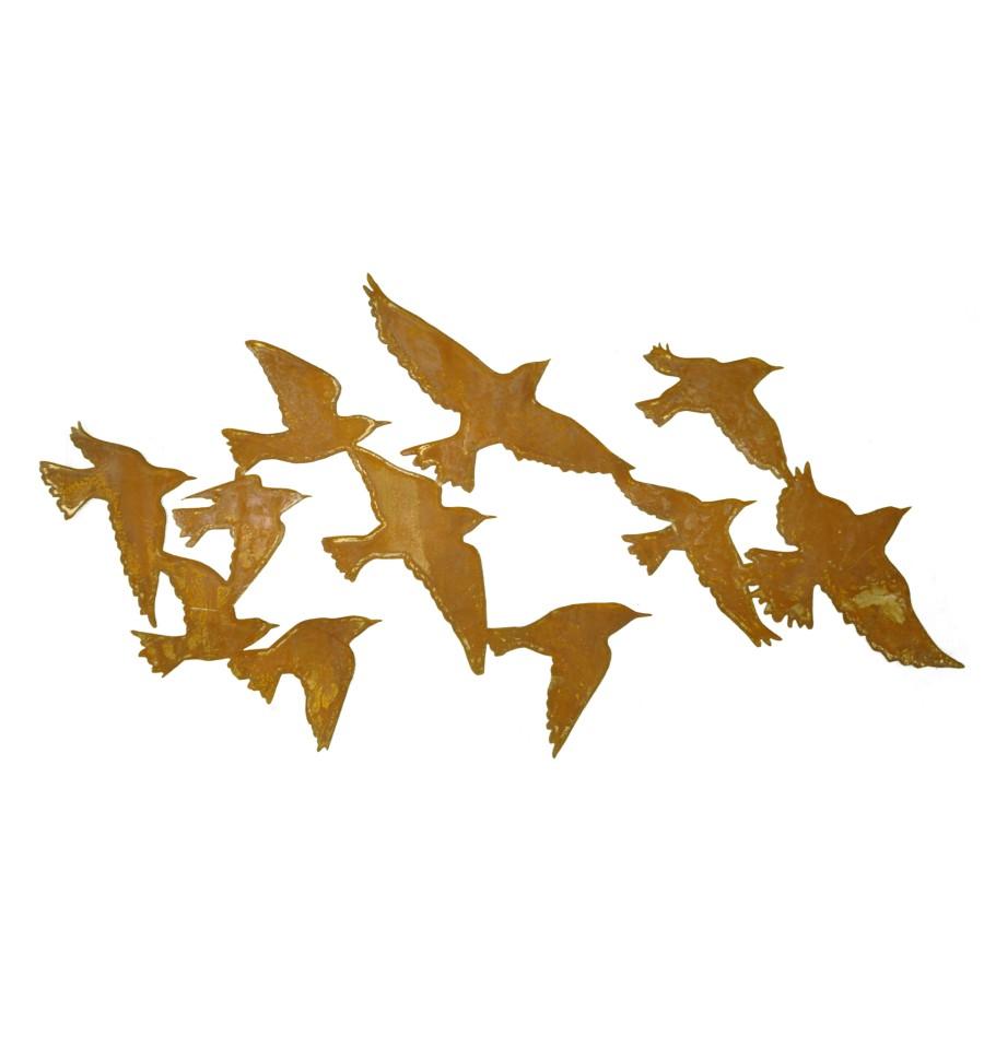 wandbild vogelschwarm flock of birds 100 cm lang metallmichl. Black Bedroom Furniture Sets. Home Design Ideas