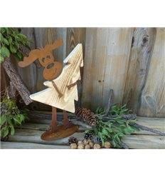 Rost Elch Max mit Baum aus Fichtenholz