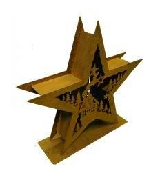 XXL Windlicht Stern doppelt mit Winterlandschaft 56 cm Durchmesser