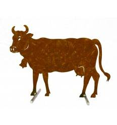 Edelrost Kuh groß 80 x 58 cm auf Stangen Original Allgäuer Rostkuh