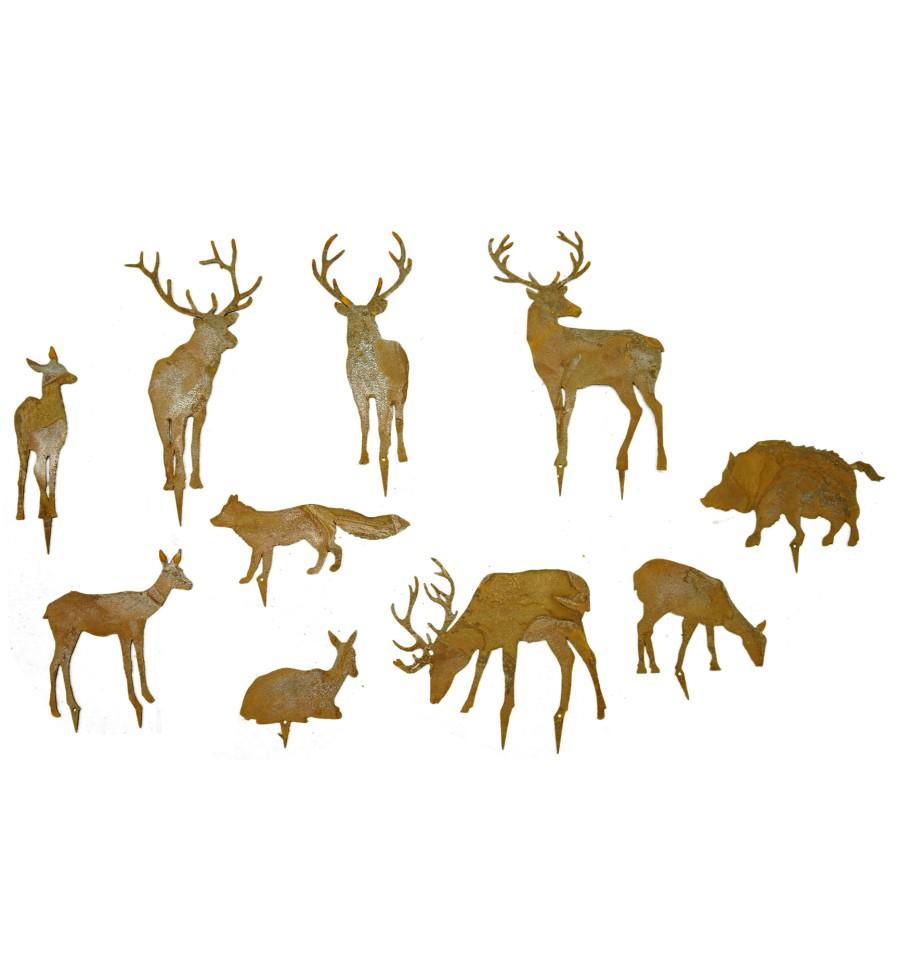 edelrost wildstecker set 10 tiere bis 16cm hirsch reh fuchs uvm. Black Bedroom Furniture Sets. Home Design Ideas