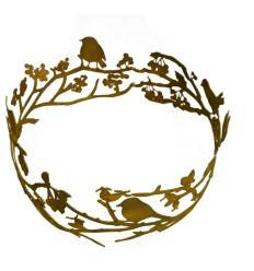 dekorativer Vogelring mit Ästen und Beeren Ø 30 cm - Dekokranz Metall