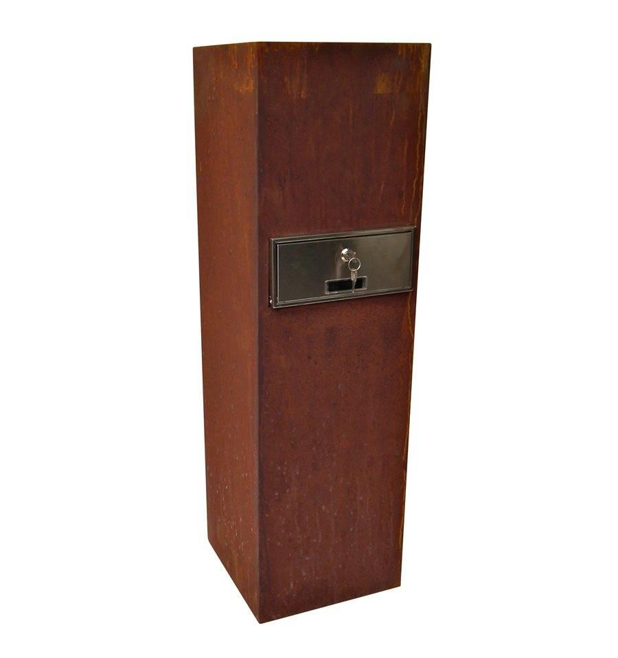 edelrosts ule mit briefkasten und individueller hausnummer. Black Bedroom Furniture Sets. Home Design Ideas