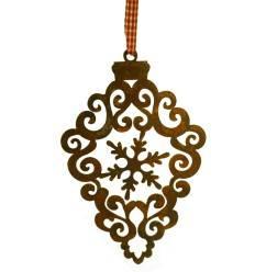 Edelrost Barockornament mit Schneeflocke - klein Höhe 14 cm - Weihnachtsbaumschmuck