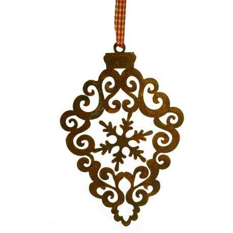 Êdelrost Kristall als Barockornament mit Schneeflocke in der Mitte